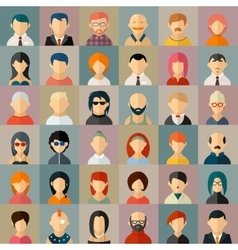 Flat people character avatar icons vector