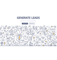 Generate leads doodle concept vector