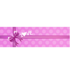 gift box with pink bow and ribbon top view love vector image