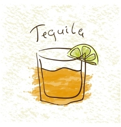 Glass of tequila vector
