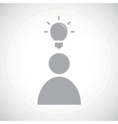 Grey idea icon 1 vector