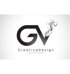 Gv letter logo design with black smoke vector
