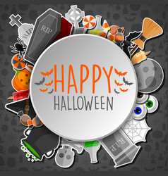 hallowen round stickers and black bayground vector image