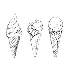 Hand sketch ice cream in cone vector