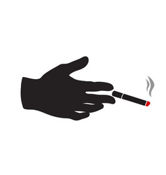 hand with cigarette sign vector image
