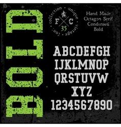 Handmade retro font Slab serif condensed vector