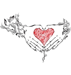 Hands with heart vector