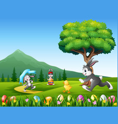 happy bunnies running on the nature background vector image