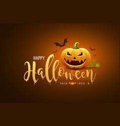 Happy halloween text design and pumpkin vector