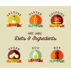 Healthy food label design set in flat style vector image