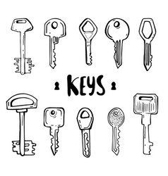 House and car key doodles of hand drawn keys vector