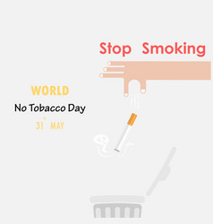 Human hands and quit tobacco signmay 31st world vector