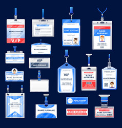 Identification id badges and cards vector