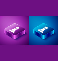 Isometric chess icon isolated on blue and purple vector