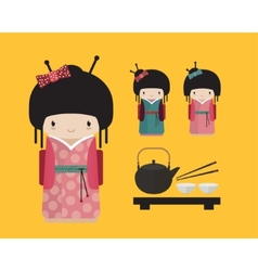 Kokeshi doll in kimono with traditional japanese vector