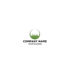 Lawn grass circle logo design vector