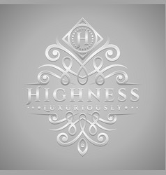 letter h logo - classic luxurious silver vector image