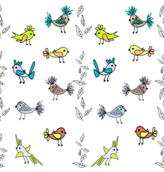 Little cute birds seamless pattern abstract vector image