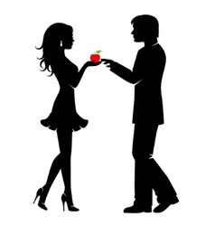 man woman and forbidden fruit vector image