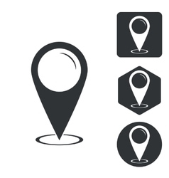 Map pointer icon set monochrome vector