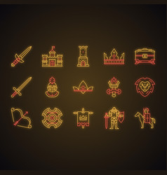 medieval neon light icons set vector image