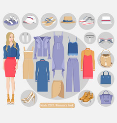 Mode 2017 womans modern stylish looks collection vector