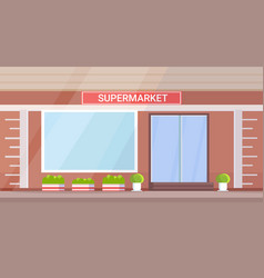 modern grocery shop supermarket exterior empty no vector image
