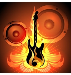 music theme with flaming guitar vector image