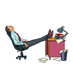 Office worker manager resting in a work chair vector
