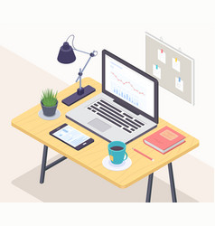 office workplace - modern colorful vector image