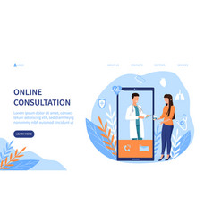 Online medical consultation with doctor on screen vector