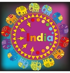 Ornament with Indian elephants vector