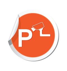 Parking under supervizion icon orange sticker vector