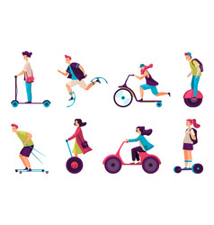 People on electric scooter segway hoverboard set vector