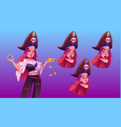 pirate girl with treasure different face emoji vector image