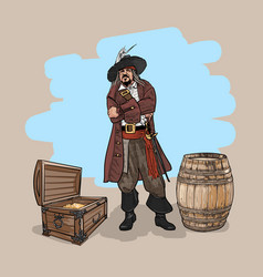 Pirate with a hat and a cutlass near the barrel vector