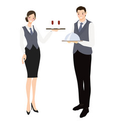professional waiter and waitress flat style vector image