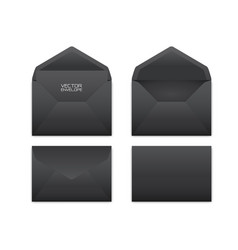 realistic black envelope set on white vector image
