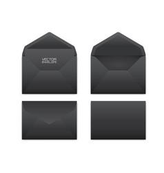 realistic black envelope set on white vector image