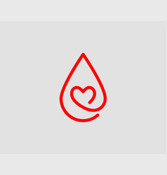 red blood drop icon isolated on white background vector image