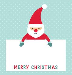 Santa claus holding a blank sign vector