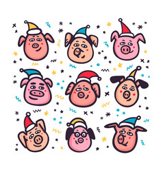santa pigs funny pigs with santa hats 2019 vector image
