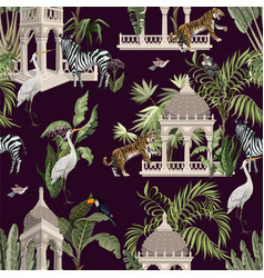 Seamless pattern with ancient arbor and wild vector