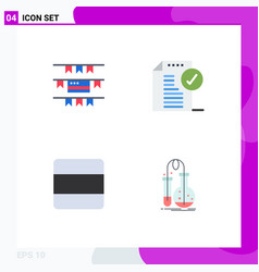 Set 4 flat icons on grid for buntings layout vector