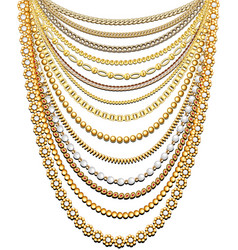 Set gold chains and beads in a large necklace vector