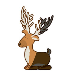 Silhouette caricature color of funny reindeer lazy vector