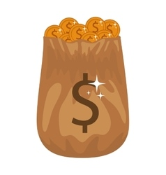 Silhouette of bag with many golden coins vector