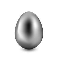 silver easter egg on a white background vector image