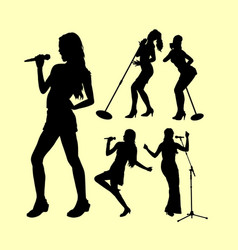 singing female action silhouette vector image
