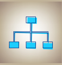 Site map sign sky blue icon with defected vector